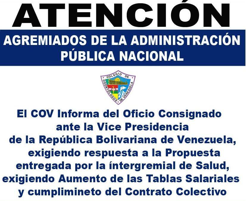 Oficio Consignado ante la Vice Presidencia de la República Bolivariana de Venezuela