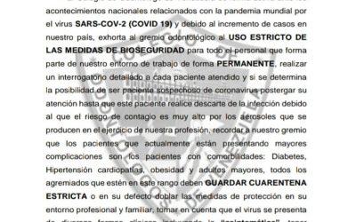 COMUNICADO: USO ESTRICTO DE LAS MEDIDAS DE BIOSEGURIDAD