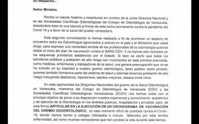 Entregado segundo oficio al Ministerio del Poder Popular para la Salud, solicitando cronograma de Vacunación para el gremio odontológico
